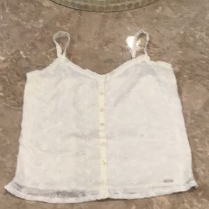 Hollister button down ivory tank, size XS.
